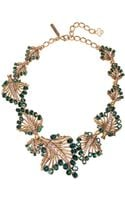 Oscar de la Renta Goldtone Swarovski Crystal Leaf Pendant Necklace - Lyst