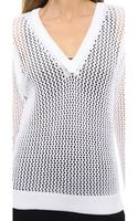Rag & Bone Connie V Neck Sweater White - Lyst