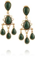 Oscar de la Renta Goldtone Cabachon Clip Earrings - Lyst