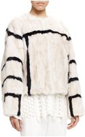 Chloé Graphic Striped Fur Coat - Lyst