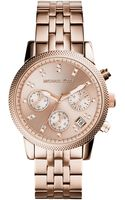 Michael Kors Womens Chronograph Ritz Rose Gold-tone Stainless Steel Bracelet Watch 37mm - Lyst