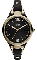 Fossil Womens Georgia Black Leather Strap 32mm - Lyst