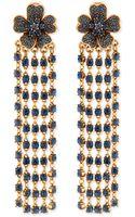 Oscar de la Renta Flower Drop Earrings with Crystal Fringe - Lyst
