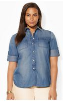 Lauren by Ralph Lauren Polka-dot Cotton Shirt - Lyst