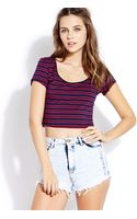 Forever 21 Everyday Striped Crop Top - Lyst