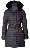 Burberry Brit Fur Trim Colbrooke Puffer Coat in Black - Lyst