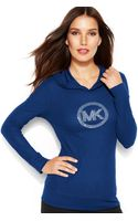 Michael Kors Michael Waffle-knit Hooded Logo Tee - Lyst