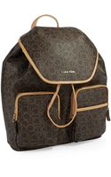 Calvin Klein Logo Patterned Backpack - Lyst