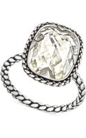 Swarovski Palladiumplated Crystal Textured Ring - Lyst