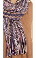 Missoni Zigzag Fringe Scarf Purpleorange - Lyst