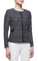 Lafayette 148 New York Bently Hiddenzipfront Tweed Jacket Navy - Lyst