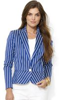 Lauren by Ralph Lauren Striped Peplum Jacket - Lyst