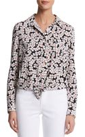 Anne Klein Mini Floral Print Tiefront Blouse - Lyst