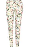 Miu Miu Floral Print Skinny Jeans - Lyst