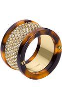 Michael Kors Pave Barrel Ring Golden 6 - Lyst