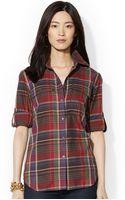 Lauren by Ralph Lauren Petite Tabsleeve Plaid Shirt - Lyst