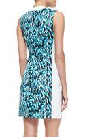 Elie Tahari Mila Printed Frontzip Dress Space Blue - Lyst