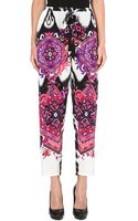 Emilio Pucci Printed Tapered Silk Trousers White - Lyst