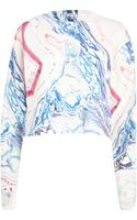 River Island Cream Marble Print Cropped Sweatshirt - Lyst