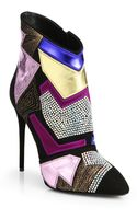 Giuseppe Zanotti Patches Mixed Media Ankle Boots - Lyst