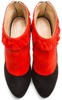 Charlotte Olympia Red Bicolor Suede Trompe Loeil Ruffled Emily Boots - Lyst
