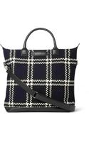 Want Les Essentiels De La Vie Ohare Leathertrimmed Checked Wool and Organic Cottoncanvas Tote Bag - Lyst