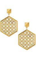Tory Burch Golden Perforated Logo Hexagon Drop Earrings - Lyst