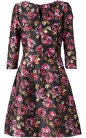 Oscar de la Renta Flower Printed Flared Dress - Lyst