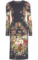 Dolce & Gabbana Printed Crepe Dress - Lyst