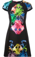 Versus  Graphic Print Fitted Dress - Lyst