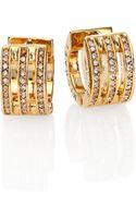 Michael Kors Motif Pave Bar Goldtone Huggie Hoop Earrings035 - Lyst