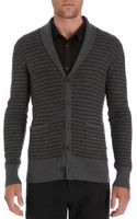 John Varvatos Striped Shawl Collar Cardigan - Lyst