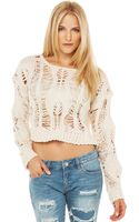 Akira Black Label Knit Crop Sweater in Cream - Lyst
