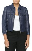Michael Kors Leather 34-sleeve Jacket - Lyst