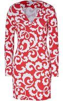 Diane Von Furstenberg Large Hot Coralwhite Spiral Fern Print Reina Silk Dress - Lyst
