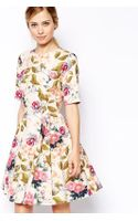 Asos Textured Skater Dress in Summer Floral and Bird Print - Lyst