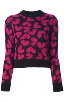 Saint Laurent Heart Knit Sweater - Lyst
