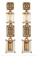 Oscar de la Renta Crystal Golden Shadow Drop Earrings - Lyst