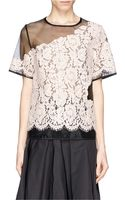 MSGM Guipure Lace Insert Gauze Top - Lyst