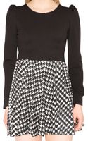 Pixie Market Houndstooth Fitandflare Dress - Lyst