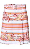 Ferragamo Stretch Cotton Floral Print Skirt - Lyst