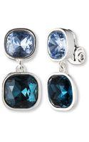 Anne Klein Square Double Drop Clip Earrings - Lyst