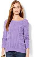 Lauren by Ralph Lauren Aran Knit Sweater - Lyst