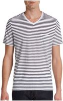 Vince Cotton Linen Striped Vneck Shirt - Lyst