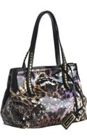 Jimmy Choo Black Leopard Print Glazed Canvas Scarlet Small Tote Bag - Lyst