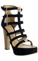 Giuseppe Zanotti Black Strappy Suede Platform Sandals - Lyst