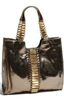 Ted Baker Tube Chain Snake Embossed Metallic Leather Shopper - Lyst