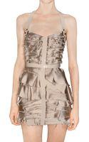 Burberry Prorsum Silk Satin Chiffon and Leather Dress - Lyst