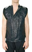 Neil Barrett Removable Sleeves Creased Leather Jacket - Lyst