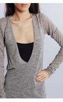 Enza Costa Cashmere Deep V-neck Tunic Sweater in Cold Grey - Lyst